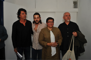 Saúl Hernández, Diego Luna, Patricia Cervantes and Peter Gabriel after meeting with Mexican president Felipe Calderon in 2009.